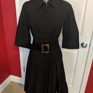 Coldwater Creek black dress with wide belt 14P